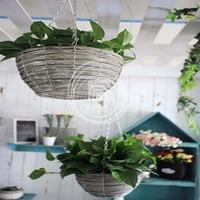 European Style Wicker Hanging Flower Plant Basket Garden Home Decoration Hanging Flower Pot Postoral Decoration 1pcs
