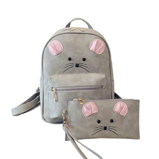 New Designer Women s Backpack PU Leather Animal Bagpack Mouse Face Cute  Knapsack for Teenager Girls Small Schoolbags for Youth 2bbd3348629b0
