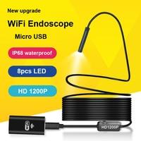 LETIKE Wifi HD 1200P Endoscope Camera IP68 Semi Rigid Tube Micro USB Endoscope Wireless Borescope Inspection