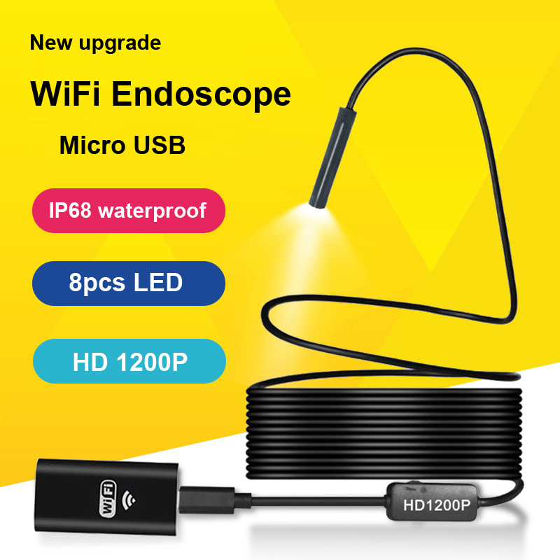 LETIKE Wifi HD 1200P Endoscope Camera IP68 Semi Rigid Tube Micro USB Endoscope Wireless Borescope Inspection