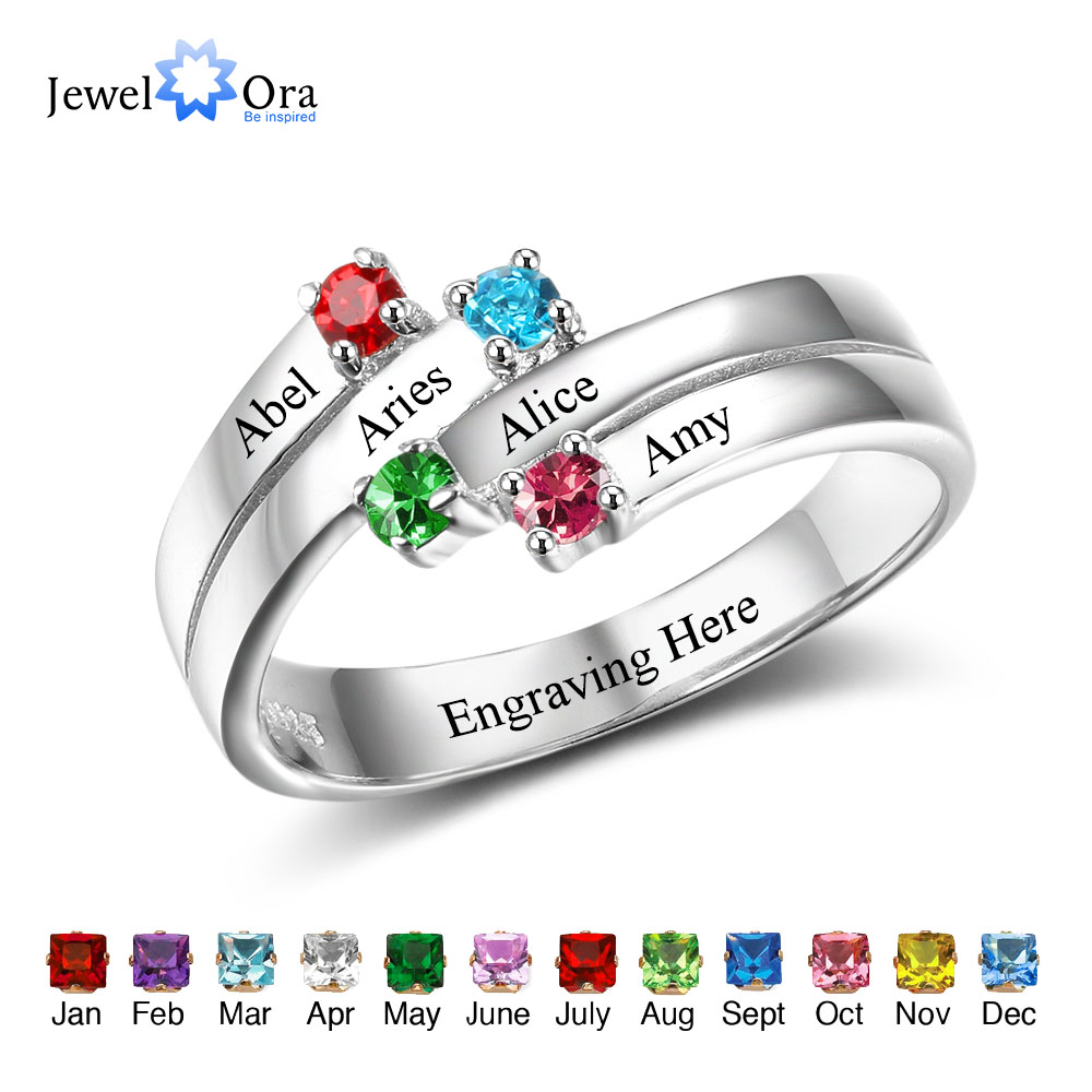 Anniversary Family Ring Engrave Names Custom 4 Birthstone Ring 925 Sterling Silver Commemoration Gift (JewelOra RI102507) tree of life ring rose gold color birthstone ring sterling silver family tree ring custom mother s ring