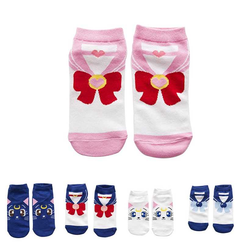 2018 New Fashion Girls Womens Cotton Socks Anime Sailor Moon  Ankle Casual Dress Socks