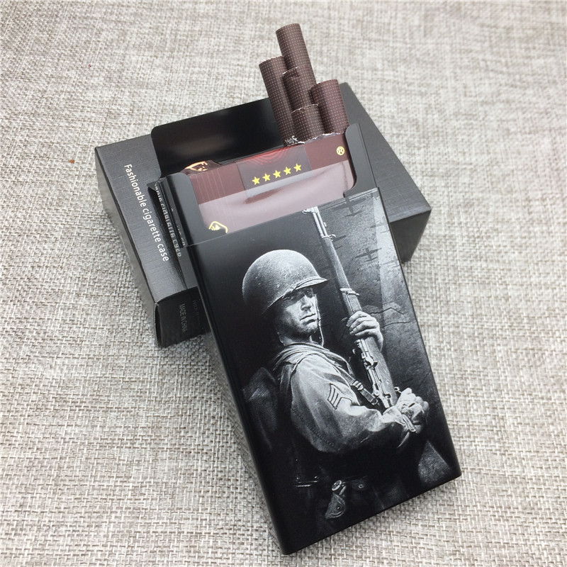 Personalized World War II Allied Forces Soldier Aluminium Alloy Beauty Cigarette Case Laser Carved Will Not Fade Smoke Box Case