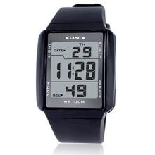 뜨거운!!! 남자 스포츠 시계 방수 100m 야외 재미 다기능 디지털 시계 수영 실행 LED 손목 시계 몬트 옴므