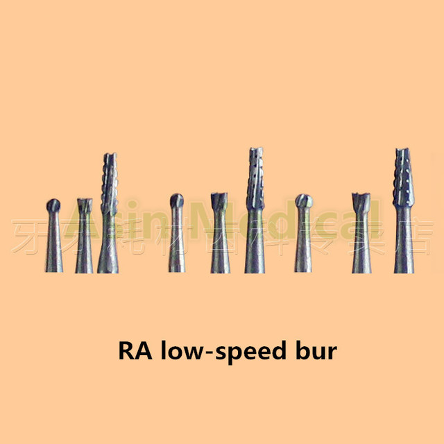 Dental low-speed handpiece bur tungsten steel needle Ball drill Cracked drill Inverted cone RA lowspeed bur cutting force
