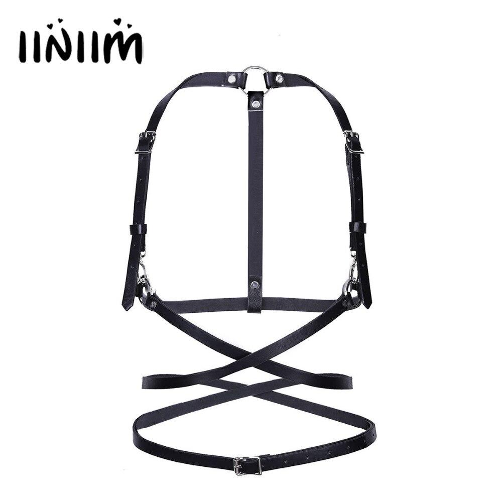 Women Faux Leather Classic Simple Style Punk Adjustable Body Bondage Cage Sculpting Harness Waist Belt Straps Suspenders Belt