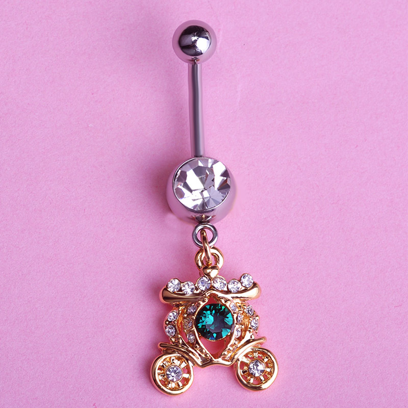 Lovely Snow White Gold Carriage Long Dangle Piercing Belly Button
