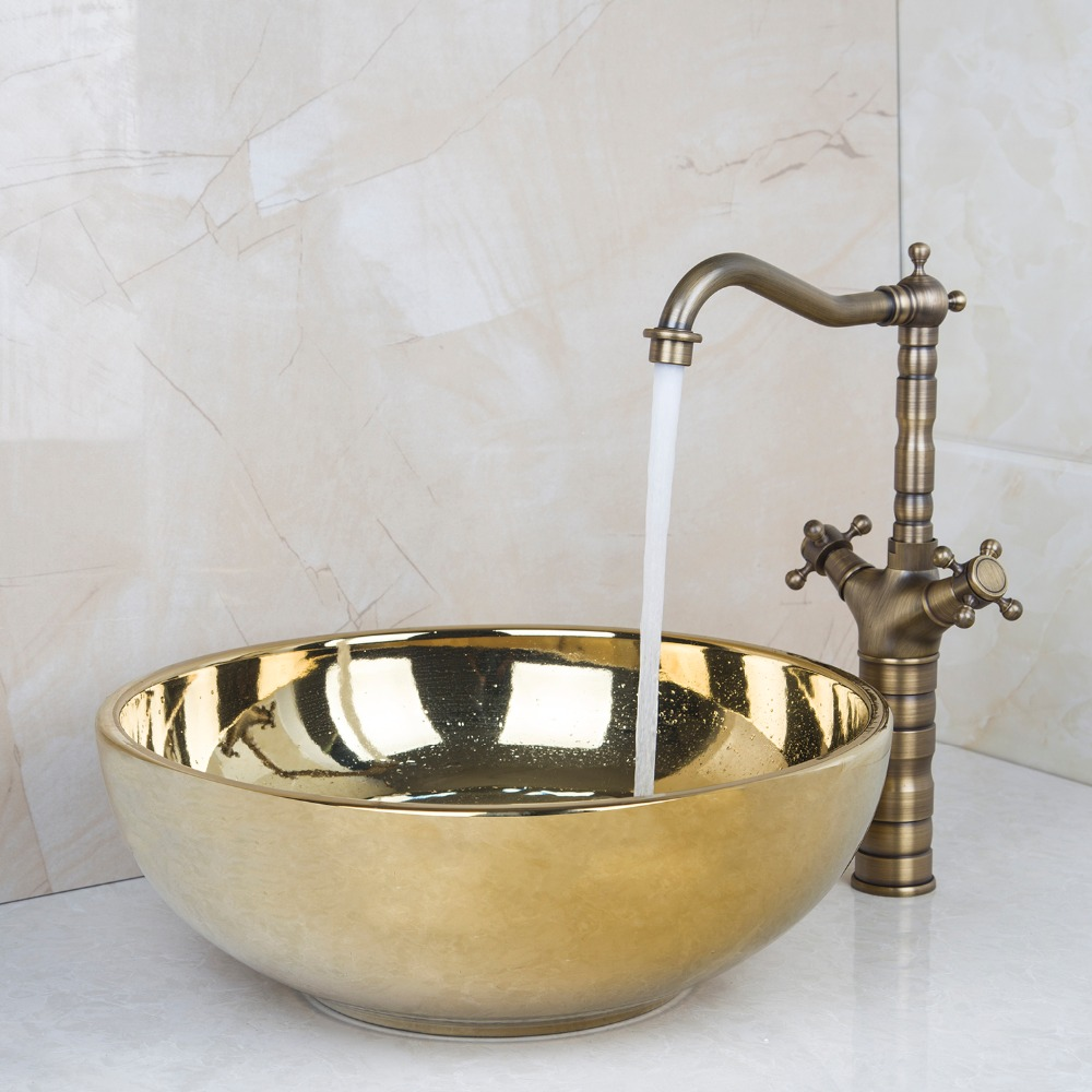 Ceramic Bathroom Sink Round Polished Golden Bathroom Sink Set Antique Brass  Double Handle Bathroom Faucet DV46028631 Part 6