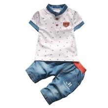 BibiCola мальчиков летние одежды новорожденных детская одежда наборы для мальчика с коротким рукавом рубашки+ джинсы прохладный джинсовые шорты костюм