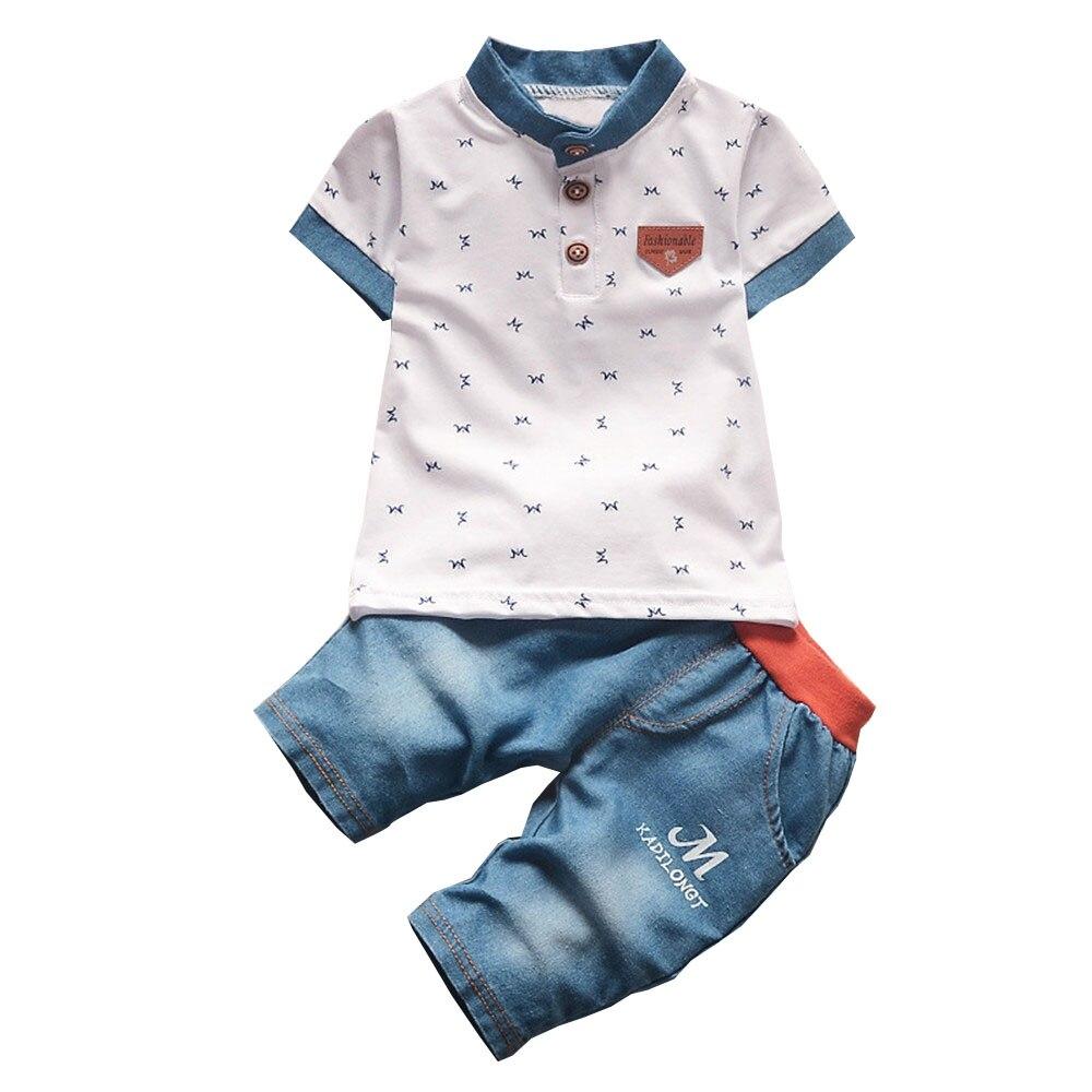 BibiCola赤ちゃん男の子夏服新生児子供服男の子用半袖シャツ+デニムクールデニムショートパンツスーツ水着花柄
