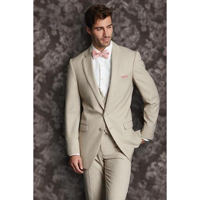 Custom Made Groom Tuxedos Champagne terno masculino Notch Lapel ...