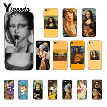 Yinuoda Funny Leonardo daVinci Mona Lisa Cat Art Aesthetics paintingPhone Case for iPhone 8 7 6 6S 6Plus X XS MAX 5 5S SE XR 10