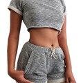 2017 nueva moda primavera mujeres casual recortada camisetas de manga corta tops sexy shorts dos piezas conjuntos trajes chándales