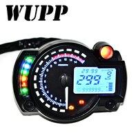 WUPP 15000 RPM Meter Motorcycle Digital Speedometer Tachometer Odometer LCD Fuel Gauge DC 12V MAX 299KM/H 7 Color Adjustable