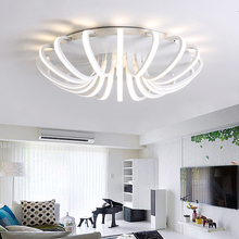 LICAN ALuminum Round Modern led ceiling Chandelier light for living room bedroom Black or White Dec AC85-265V Ceiling Chandelier