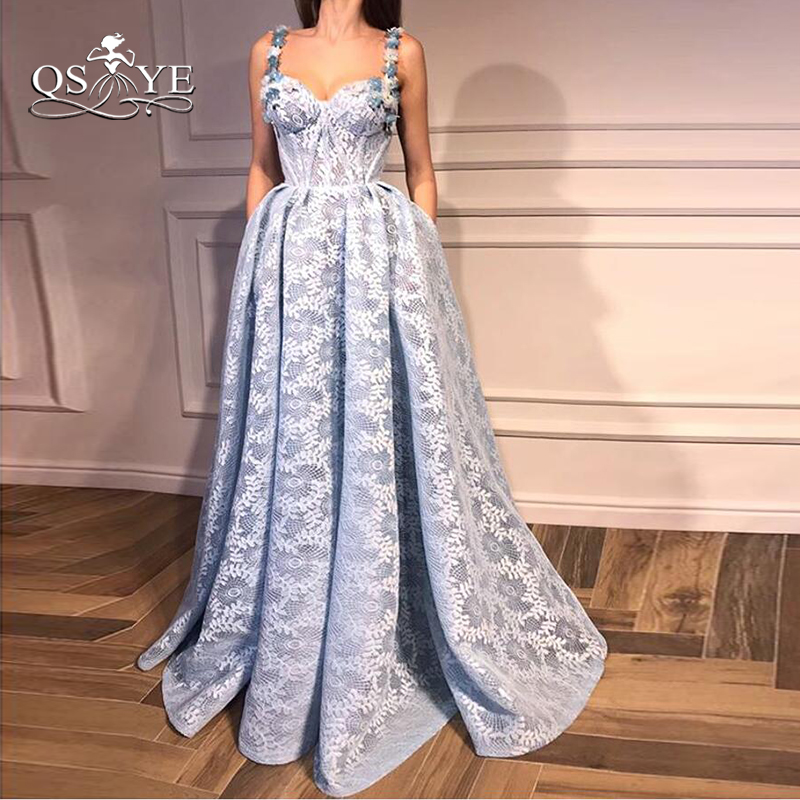 QSYYE 2018 New Blue Formal   Evening     Dresses   Spaghetti Straps Sweetheart 3D Floral Flower Floor Length Lace Prom   Dress   Party Gown