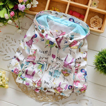 2017 Newly arrived fashion baby girls clothes Flowers Lollipops jackets for casual style outwear with hooded children's  jacket