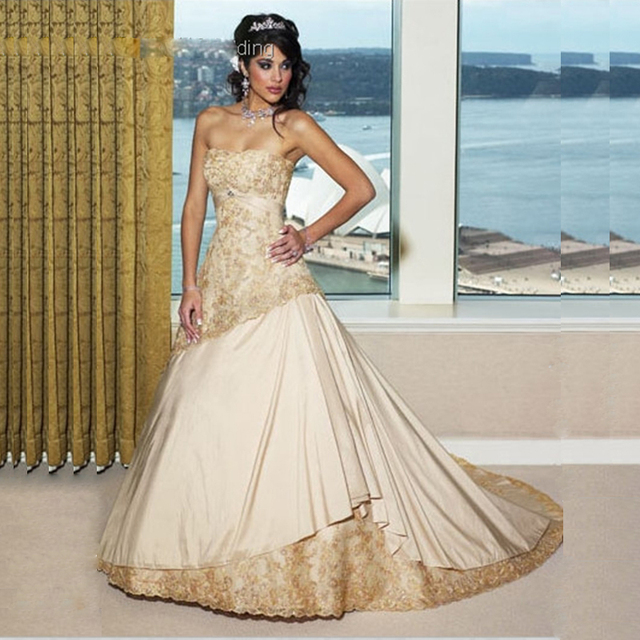 Vintage Champagne Wedding Dresses New Style