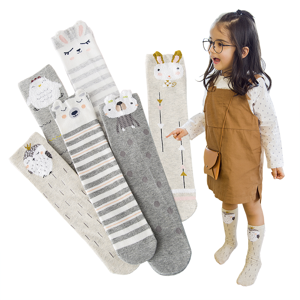 3Pair/lot Baby 3D Tube Stockings Cartoon Style Animal Fluff Kids Boy Girls Tights Childrens Tights Length 30CM for 1-12Year