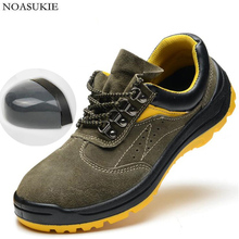 Men Safety Shoes Fashion Stitching Cattle Suede Work Anti-Smashing Puncture Steel Toe Sicherheitsschuhe 36-46