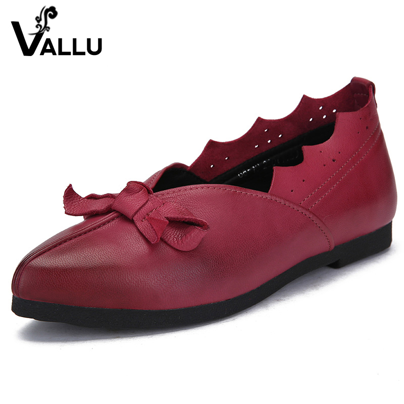 2018 VALLU Genuine Leather Women Shoes Flats Pointed Toes Bowtie Handmade Vintage Women Shoes Loafers women ladies flats vintage pu leather loafers pointed toe silver metal design