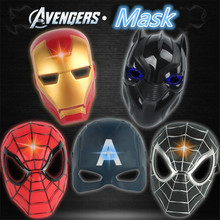 LED Light Mask Marvel Avengers 4 Endgame Iron Man Spiderman Captain America Panther Mask Child&Adult Halloween Gift Cosplay Mask the avengers iron man helmet cosplay touch sensing mask with led light marvel superhero iron man adult motorcycle abs helmet