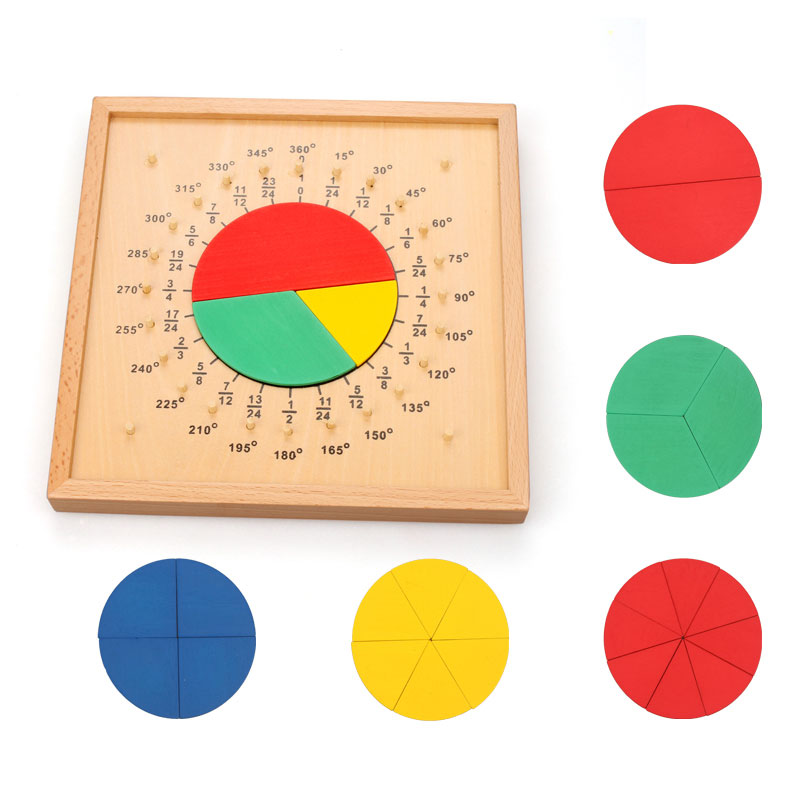 Montessori Geometric Fraction Board Wooden Educational Toys For Children Juguete Montessori Kids Learning Toys ML0764H