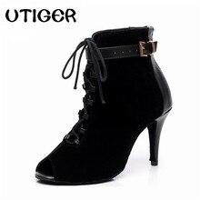 La mujer Danza Latina botas negro púrpura Salsa zapatos de baile de tacón  alto 8 4152e4db8961