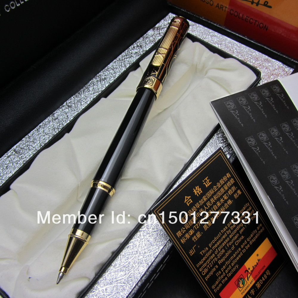 FREE SHIPPING PICASSO 902A BLACK AND GOLDEN ROLLER BALL PEN DREAM SERIES WITH ORIGINAL BOX jinhao ancient dragon playing pearl roller ball pen with jewelry on top with original box free shipping