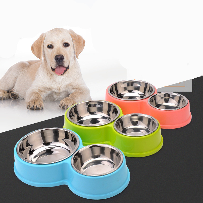 Plastic 8 Shaped Pet Double Bowls Stainless Steel Dog Bowl Cat Food Bowls Water Container For Puppy Small Dogs Feeders
