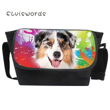 ELVISWORDS Fashion Canvas Messenger Bags Cool Colorful Dogs Patterns Crossbody Casual for Teenage Student Large Mochila Fiminina