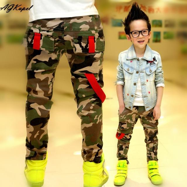 New 2016 Autumn Teens Jeans For Boy Camouflage Baby Boys Jeans Pants Designer Kids Jean Children's Elastic Waist Denim Long Pant