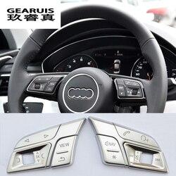 Samochodów stylizacji samochodów przyciski na kierownicy pokrywa osłonowa naklejki na audi Q3 Q5 A1 A3 8V A4 B9 B8 A5 A7 2018 wnętrze akcesoria samochodowe|Listwy wewnętrzne|   -