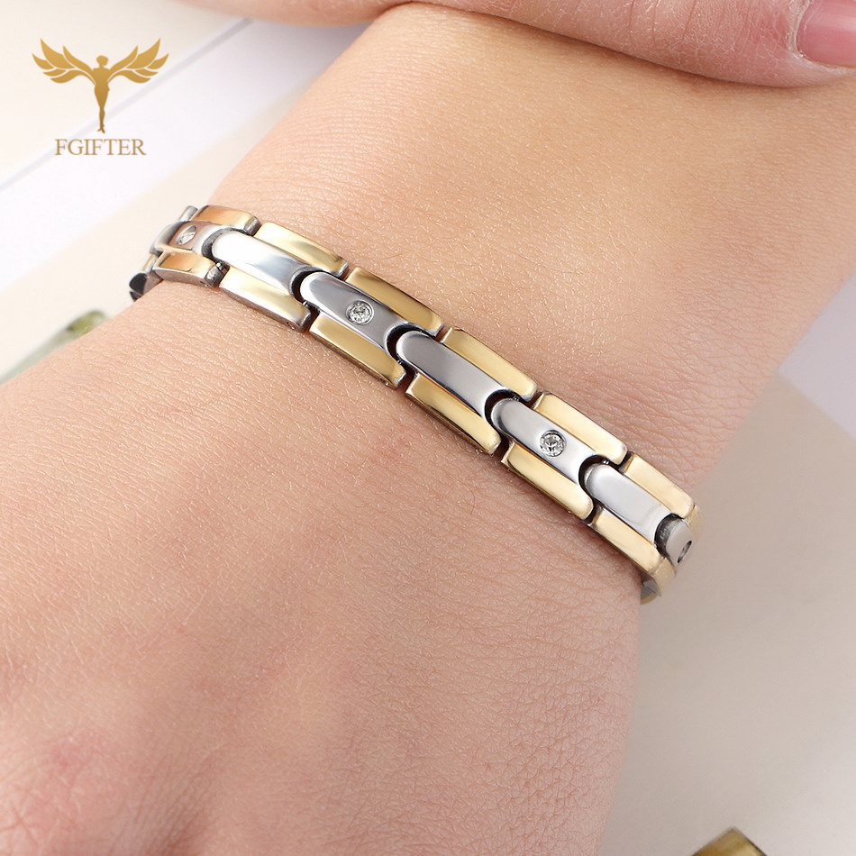 FGifter Charming 316L Stainless Steel Bracelets with Crystal Men Women's Gold Silver Jewelry Magnetic Bracelets men s stainless steel tag pendant with crystal silver