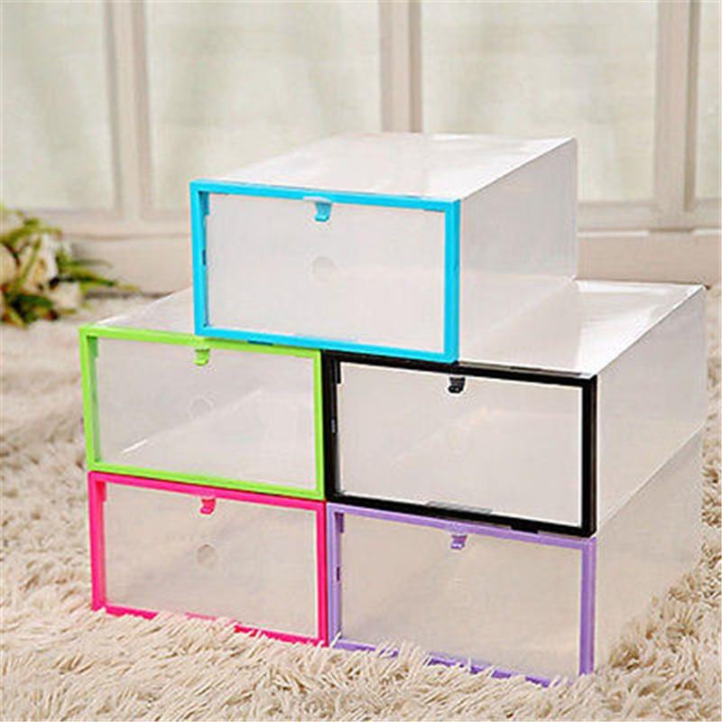 clear transparent drawer case plastic shoe boxes storage organizer stackable box in storage. Black Bedroom Furniture Sets. Home Design Ideas