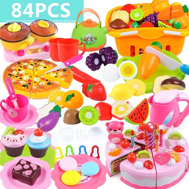 84 шт. детские игрушки кухня резки комплект новый фрукты овощи еда многоразовые роль играет цвет игрушки детей подарок