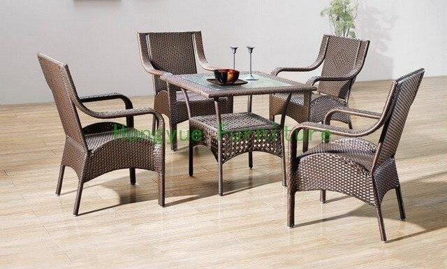 Mimbre de interior sillas de comedor con tabla, muebles de comedor ...