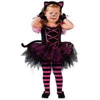 פופולרי בנות מסיבת ילד חמוד חתול תחפושת ליל כל הקדושים חתול שחור בעלי החיים קרנבל בורלסק ילדים תלבושות לילדה L15295