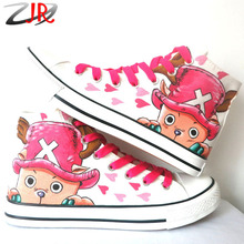 YJR Cartoon Character Chopper Men Women Hand Painted Canvas Shoes Hi-Top Lace-Up Anime One Piece Series Female Casual Shoes