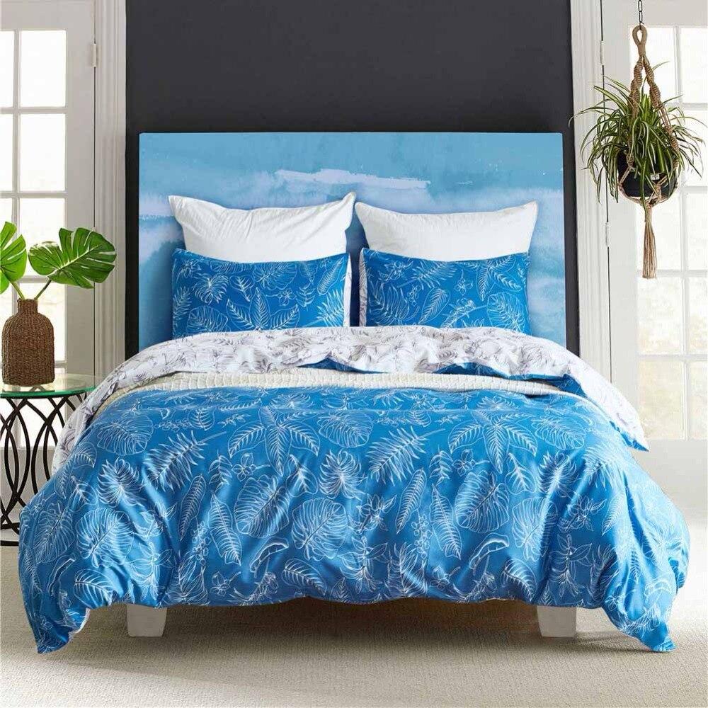 US King Size Bedding Set Bohemian Style Pillowcase Duvet Cover Sets Boho Tropical Palm Leaf Bedclothes Girl Boy's Bed Decoration
