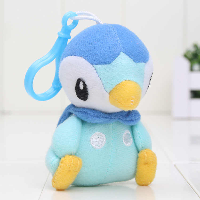 9-12 cm Bolso Piplup Eevee Bulbasaur Squirtle Plush Toy Stuffed Plush Doll Mew pingente chaveiro com gancho