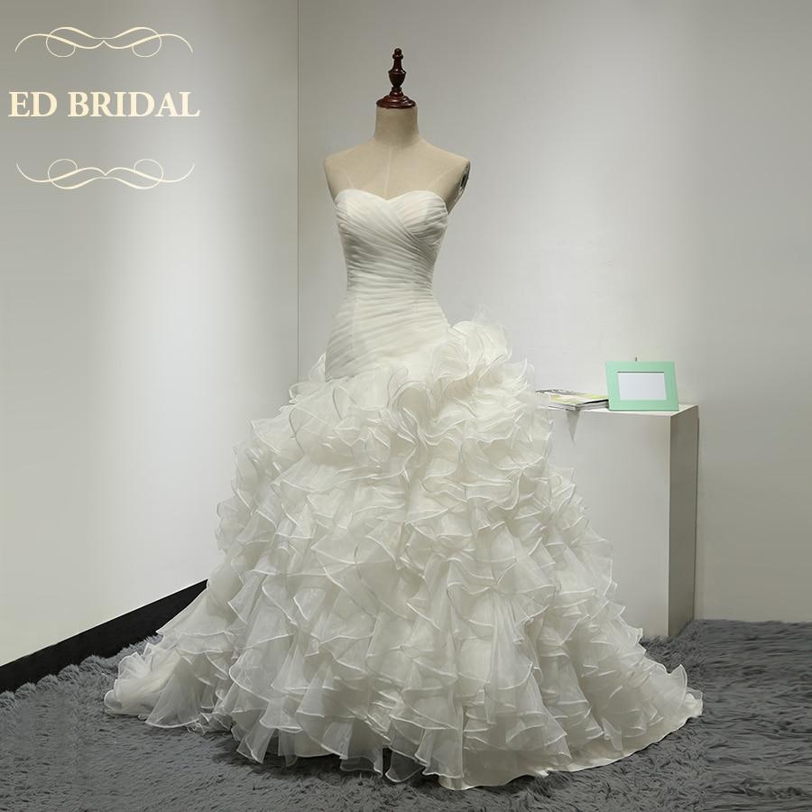 Sweetheart Dropped Waist Ruffle Organza font b Wedding b font Dress font b Bridal b font