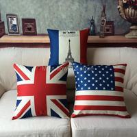 Cotton Linen Throw Pillow Car Office Sofa Waist Back Cushion Home Decoration