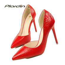 Printing design Snake Skin Women Wedding Pumps Victoria Shoes Woman 2017 Women D'Orsay Party Pumps Women's Bridal High Heels