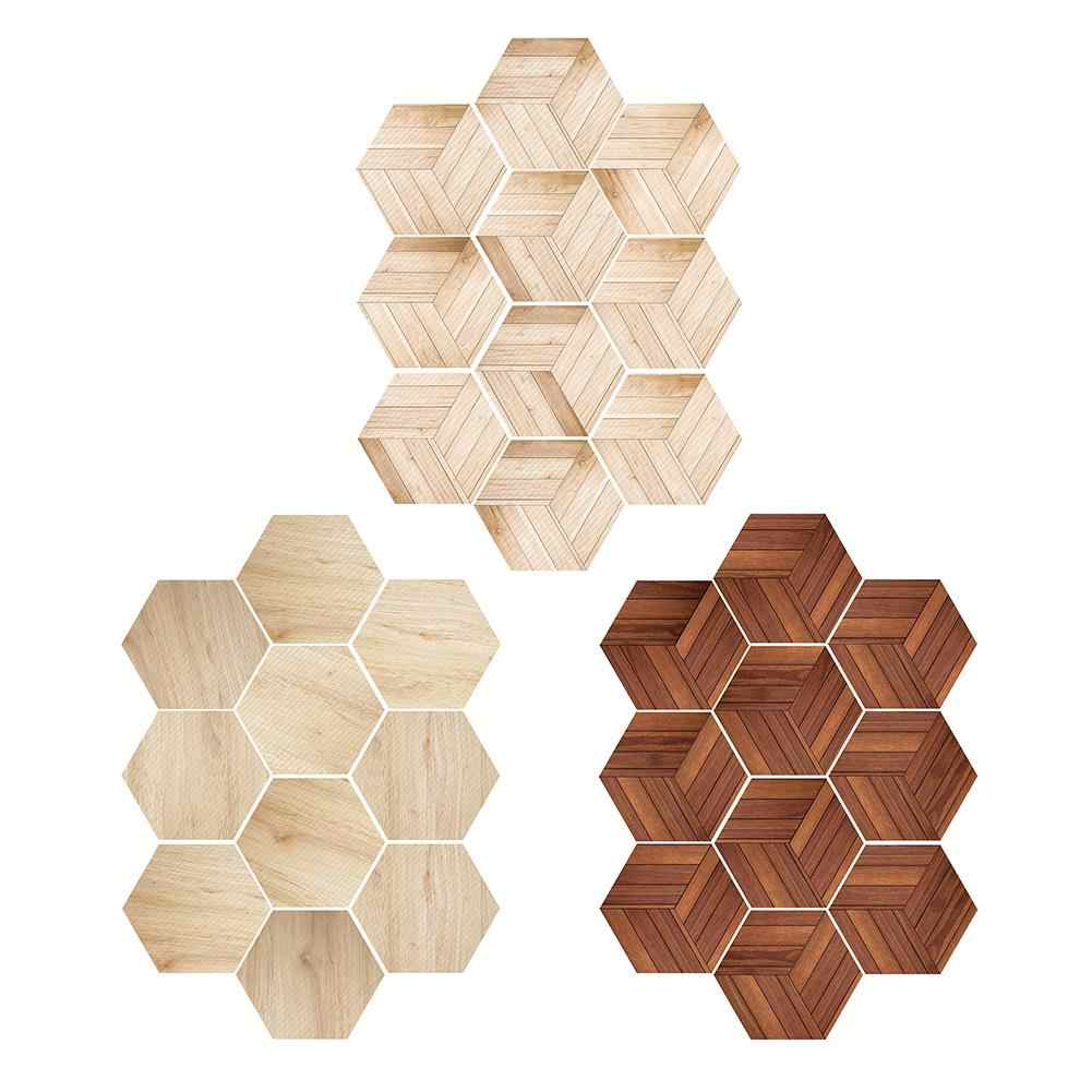 10pcs New Simple Six-sided Imitation wood grain Floor Tiles Bathroom Kitchen Home Anti-slip stickers DIY Mosaic Wall Stickers