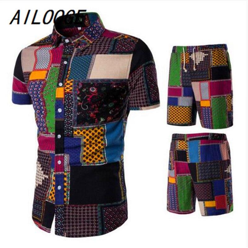AILOOGE, спортивные костюмы для мужчин, льняные, летние, 2 шт., дышащий, короткий комплект, мужской дизайн, модные рубашки + шорты, спортивный кост...