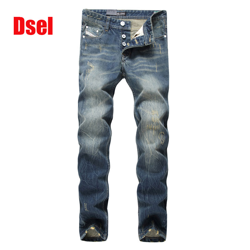 High Quality Fashion Men Jeans Dsel Brand Slim Fit Skinny Jeans For Men Straight Blue Color Printed Men Jeans Ripped Jeans,E9003 black navy m xxl quality 2017 spring new arrival ripped jeans for men fashion brand men jeans slim fit jeans men jx01