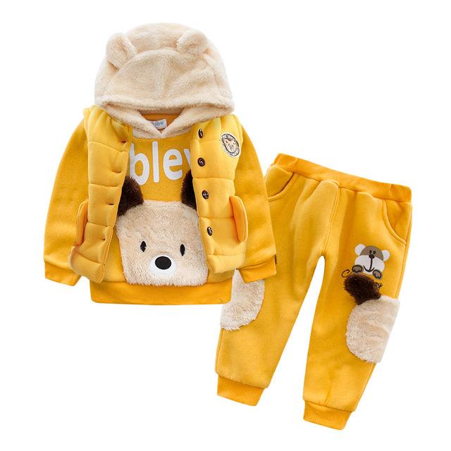 Anlencool Bebé niños Nuevo Oso de Peluche nuevo abrigo de invierno de algodón de tres piezas conjunto de ropa de bebé de invierno de los bebés ropa