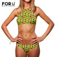 FORUDESIGNS Tie Up Back Cross Hoge Hals Meisjes Bikini Skull Head Print Zonbime Bikini Set Wit Tropische Zomer Zwemkleding
