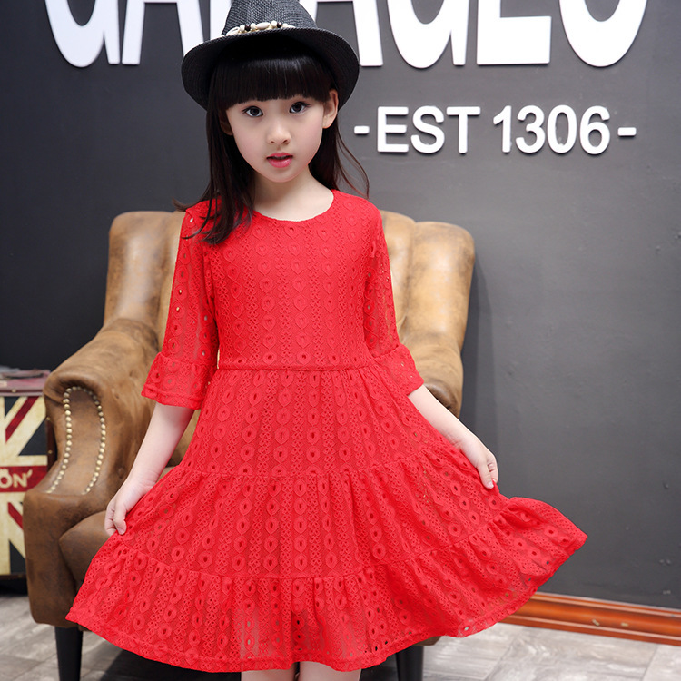 Girl Summer Wear Dress Children's Garment New Pattern Children Child Lace Short Sleeve Princess Dress Kids Clothing Lace girls europe and the united states children s wear red princess long sleeve princess dress child kids clothing red bow lace